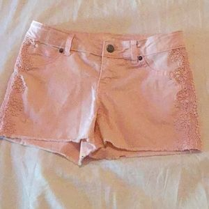 Pink Embroidered shorts